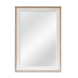Rectangular 2-Tone Large Wall Mirror in Weathered Wood