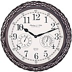 Sterling & Noble Dark Woven Indoor/Outdoor Wall Clock in Brown