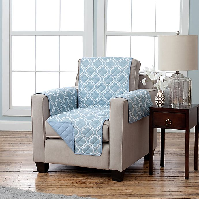 Alternate image 1 for Adalyn Collection Reversible Chair-Size Furniture Protectors in Lattice Print/ Blue