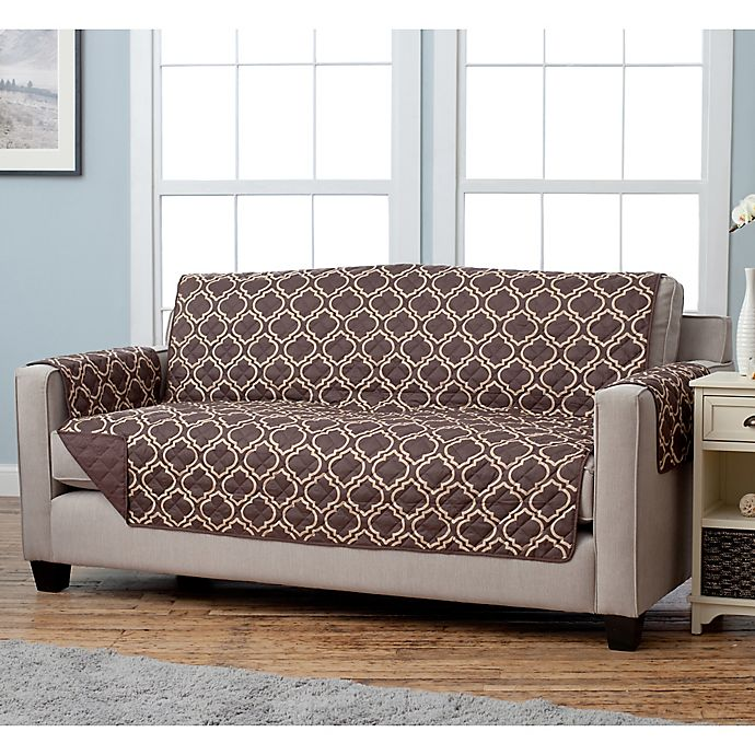 Alternate image 1 for Adalyn Collection Reversible Sofa-Size Furniture Protectors in Lattice Print/Chocolate