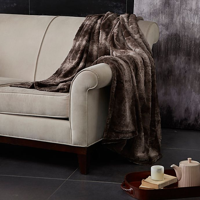 Alternate image 1 for Madison Park Zuri Oversized Reversible Faux-Fur Throw in Chocolate