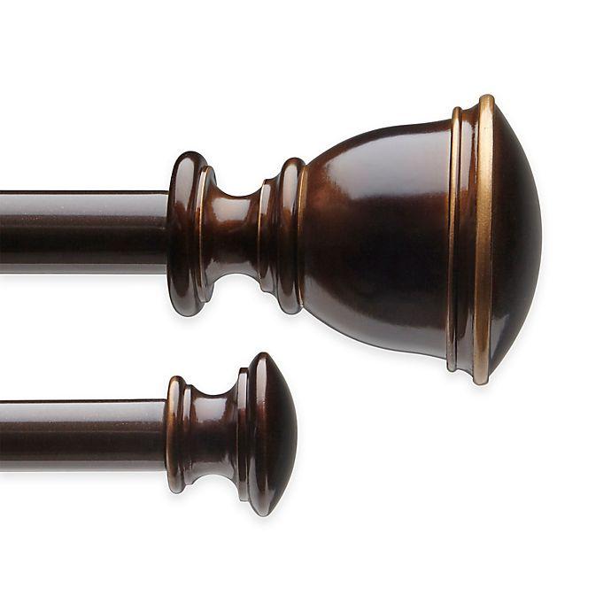Alternate image 1 for Stella Bedford 48 to 88-Inch Adjustable Window Curtain Double Rod Set in Darjeeling Bronze