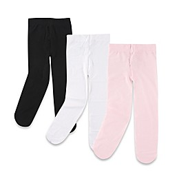 BabyVision® Luvable Friends® 3-Pack Tights in Black/White/Pink