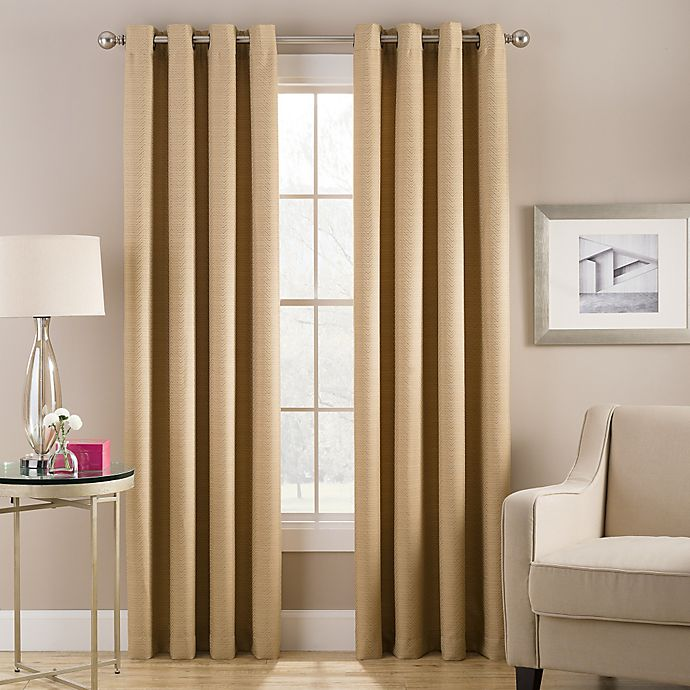 Alternate image 1 for Cheshire 108-Inch Grommet Top Lined Window Curtain Panel in Gold