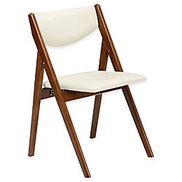A-Frame Wood Folding Chair in Fruitwood/Off White (Set of 2)