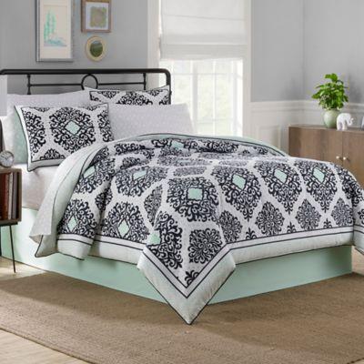 Cooper Reversible 6 8 Piece Comforter Set in Mint   Bed Bath & Beyond