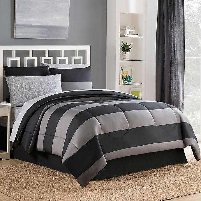 Alternate image 1 for Bryce 6-Piece Reversible Twin Comforter Set in Black/Grey