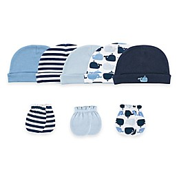 Baby Vision® Luvable Friends® Size 0-6M 8-Piece Cap & Mitten Set in Blue/Whales