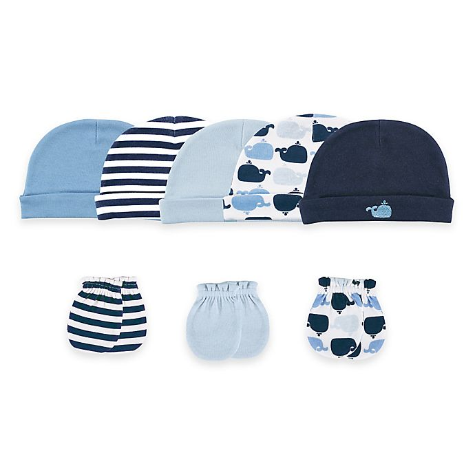 Alternate image 1 for Baby Vision® Luvable Friends® Size 0-6M 8-Piece Cap & Mitten Set in Blue/Whales
