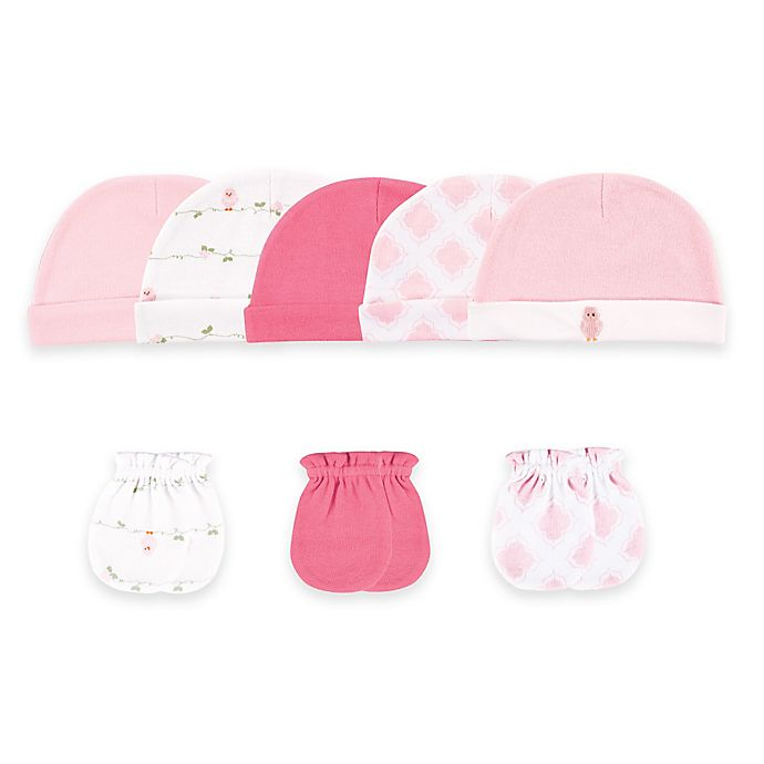 Alternate image 1 for Baby Vision® Luvable Friends™ Size 0-6M 8-Piece Cap and Mitten Set in Pink