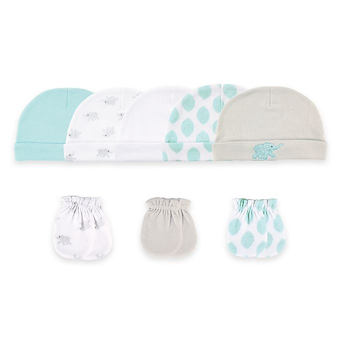 Alternate image 1 for Baby Vision® Luvable Friends® Size 0-6M 8-Piece Cap & Mitten Set in Tan/White/Aqua