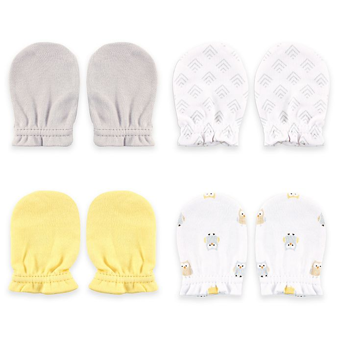 Alternate image 1 for BabyVision® Luvable Friends™ 4-Pack Yellow Owl Scratch Mittens