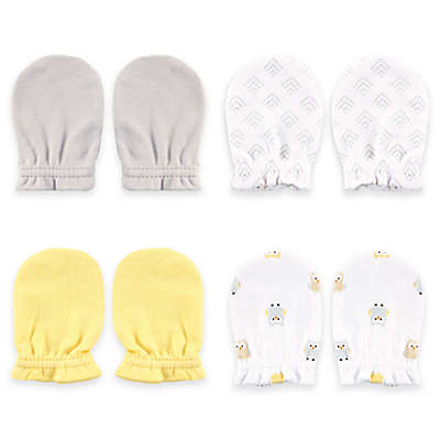 BabyVision® Luvable Friends™ 4-Pack Yellow Owl Scratch Mittens