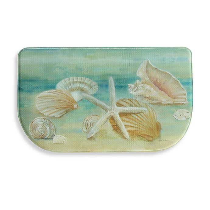 Alternate image 1 for Bacova Horizon Shells 18-Inch x 30-Inch Memory Foam Kitchen Mat in Aqua