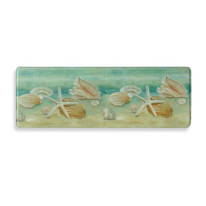 Alternate image 1 for Bacova Horizon Shells 20-Inch x 55-Inch Memory Foam Kitchen Mat in Aqua