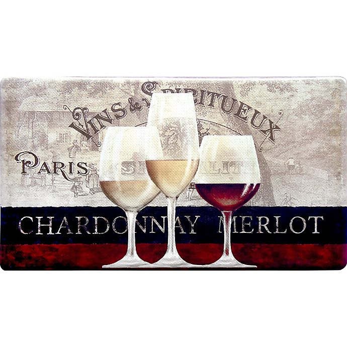 Alternate image 1 for Home Dynamix Cook N Comfort 35.4-Inch x 19.6-Inch Parisian Wine Window Anti-Fatigue Kitchen Mat