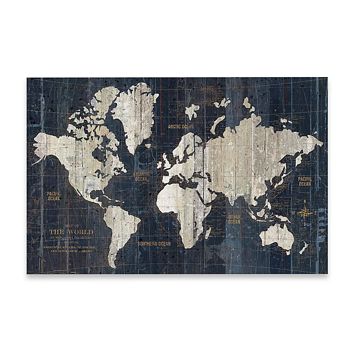 Old World Map Wall Art in Blue | Bed Bath and Beyond Canada