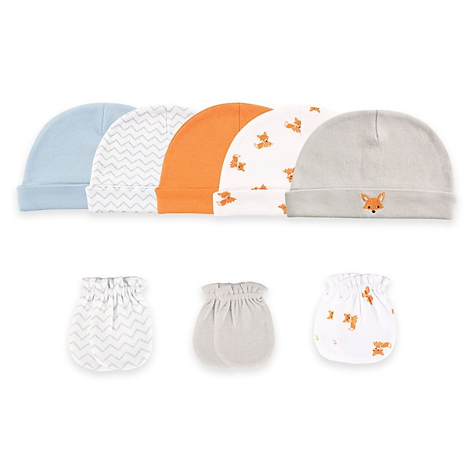 Alternate image 1 for Baby Vision® Luvable Friends® Size 0-6M 8-Piece Cap & Mitten Set in Orange/Taupe/Fox