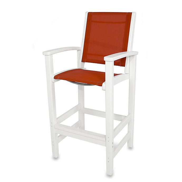 Buy Polywood 174 Coastal Bar Chair In White Red From Bed Bath