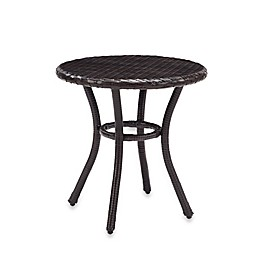Crosley Palm Harbor Round Outdoor Wicker Side Table in Brown