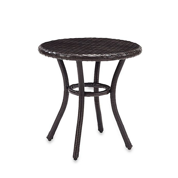 Alternate image 1 for Crosley Palm Harbor Round Outdoor Wicker Side Table in Brown