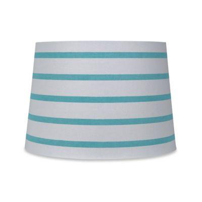Mix Match Medium 13 Inch Striped Hardback Drum Lamp Shade In Teal White