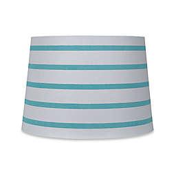 Mix & Match Medium 13-Inch Striped Hardback Drum Lamp Shade in Teal/White