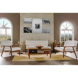 Baxton Studio Mid-Century Masterpieces 3-Piece Sofa Set in White