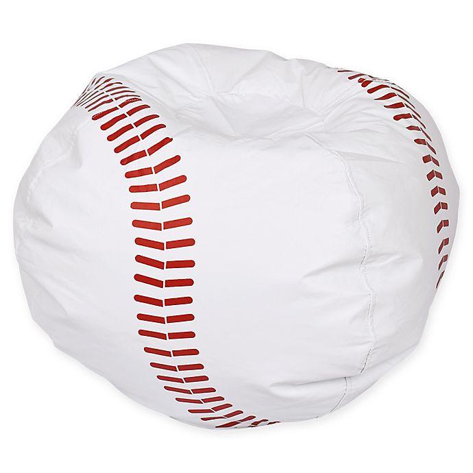 Alternate image 1 for Round Baseball Bean Bag Chair in Matte White/Red