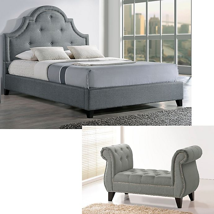 Alternate image 1 for Baxton Studio Colchester Linen Upholstered Queen Platform Bed and Bench Set in Grey