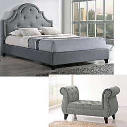 Baxton Studio Colchester Linen Upholstered Platform Bed and Bench Set