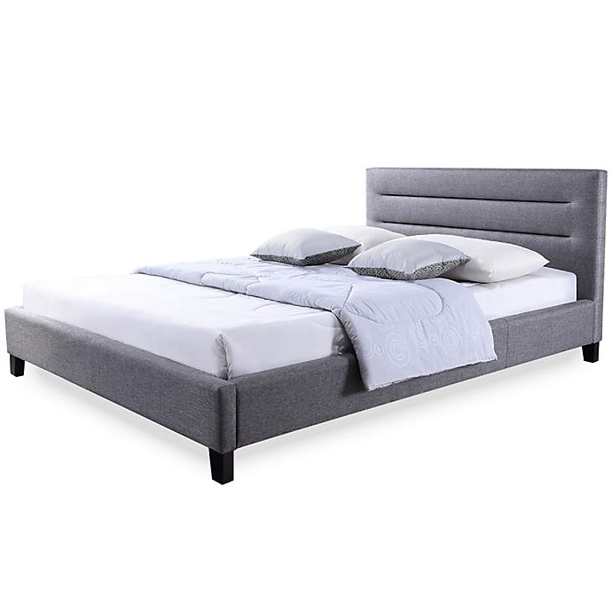 Alternate image 1 for Baxton Studio Hillary Upholstered Queen Platform Bed in Grey