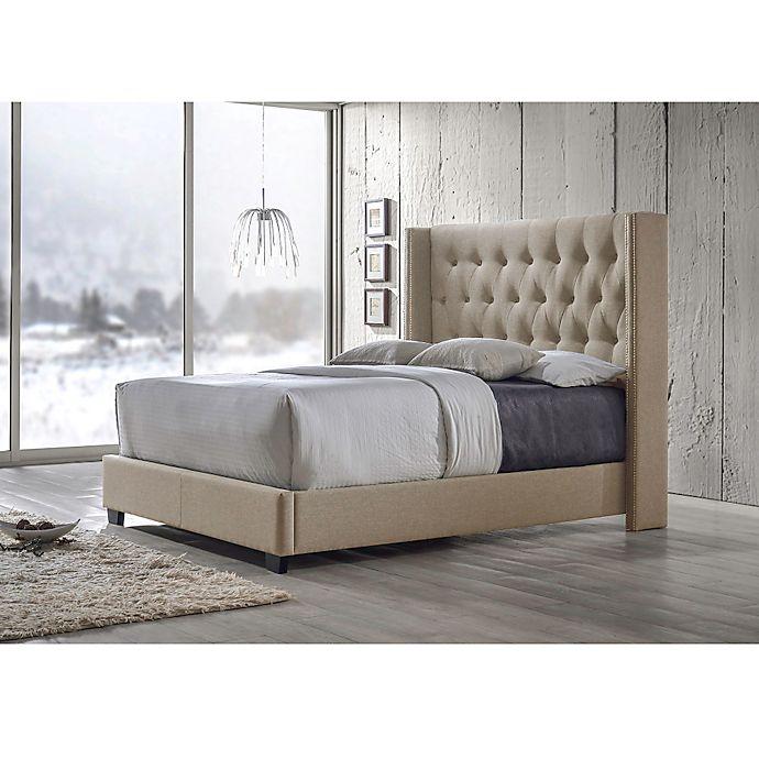 Alternate image 1 for Baxton Studio Katherine Upholstered Wingback Bed