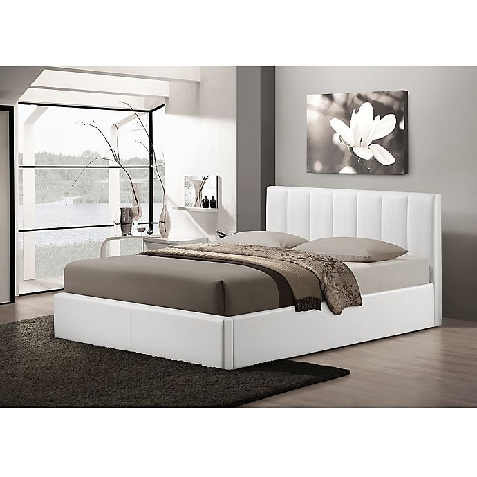 Alternate image 1 for Baxton Studio Templemore Upholstered Queen Platform Bed with Storage in White