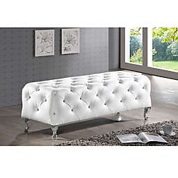 Baxton Studio Stella Crystal Tufted Modern Bench in White