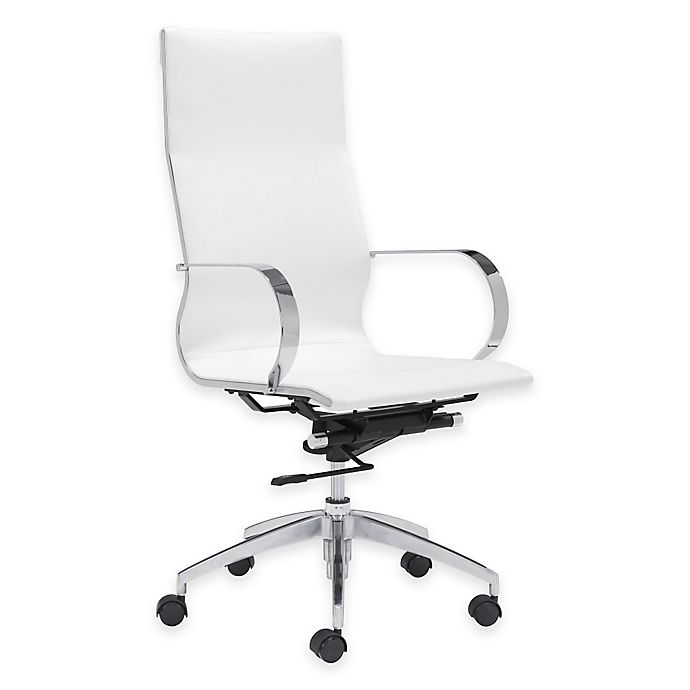 Amazing Zuo Modern Faux Leather Swivel Glider Office Chair In White Gmtry Best Dining Table And Chair Ideas Images Gmtryco