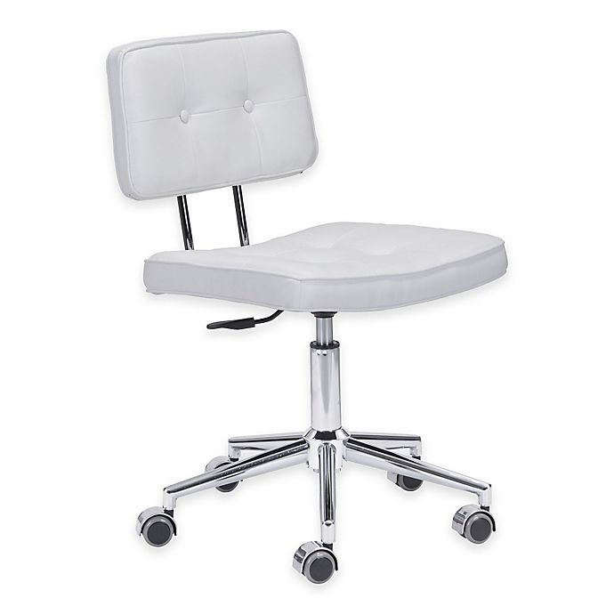 Marvelous Zuo Modern Faux Leather Swivel Series Office Chair In White Evergreenethics Interior Chair Design Evergreenethicsorg