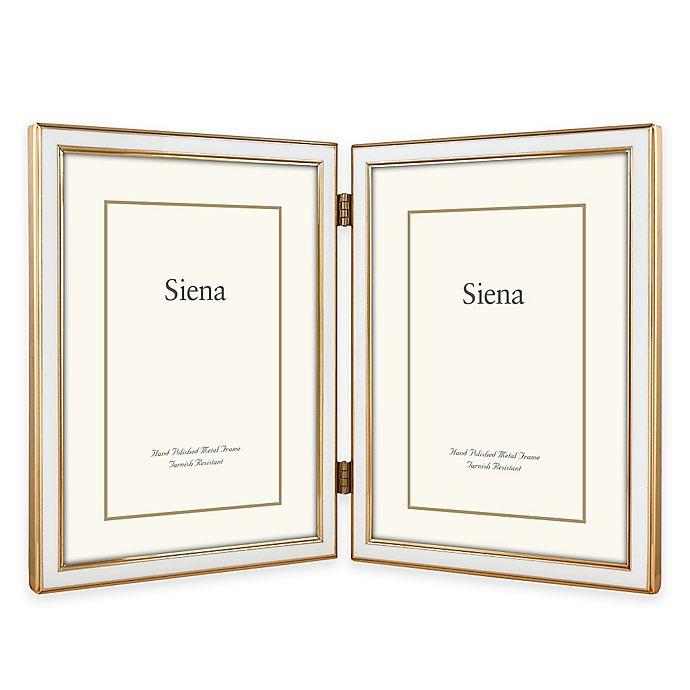 Alternate image 1 for Siena Metallics 2-Photo 5-Inch x 7-Inch Narrow Enamel Frame in White/Gold