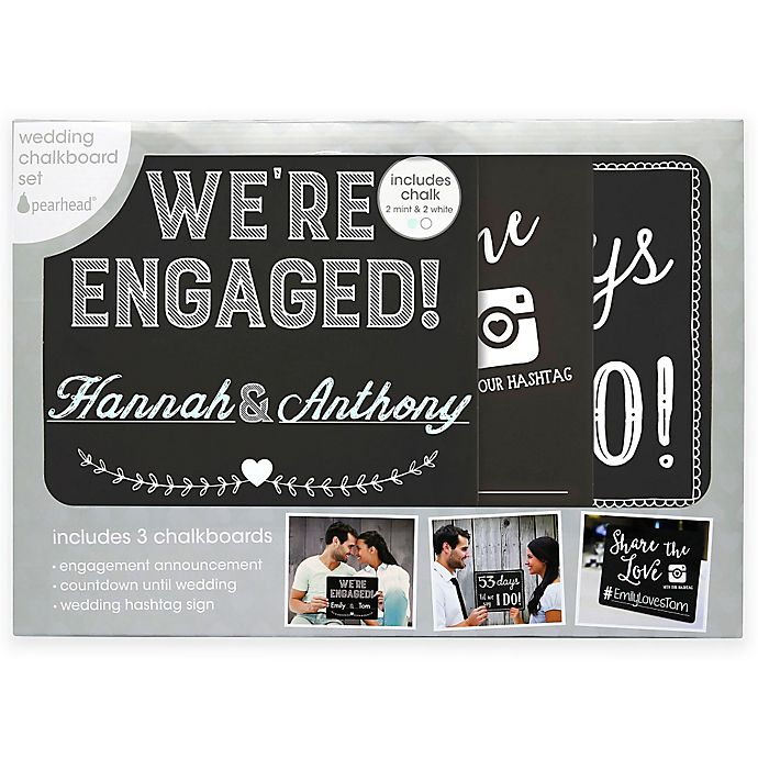 Alternate image 1 for Pearhead® Engagement Announcement Chalkboard Set
