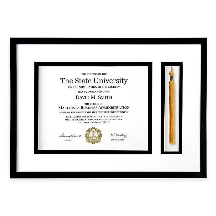 Alternate image 1 for PhotoGuard 18-Inch x 12.75-Inch Graduation Certificate and Tassel Frame in Black