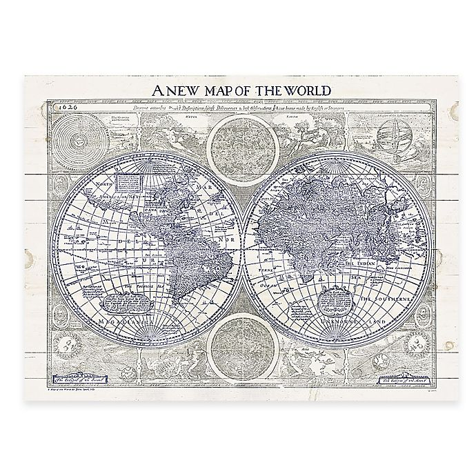 Alternate image 1 for World Map Digitally Printed Wooden Panel Wall Art