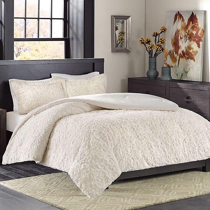Alternate image 1 for Madison Park Bismarck Ultra Plush Full/Queen Comforter Set in Ivory