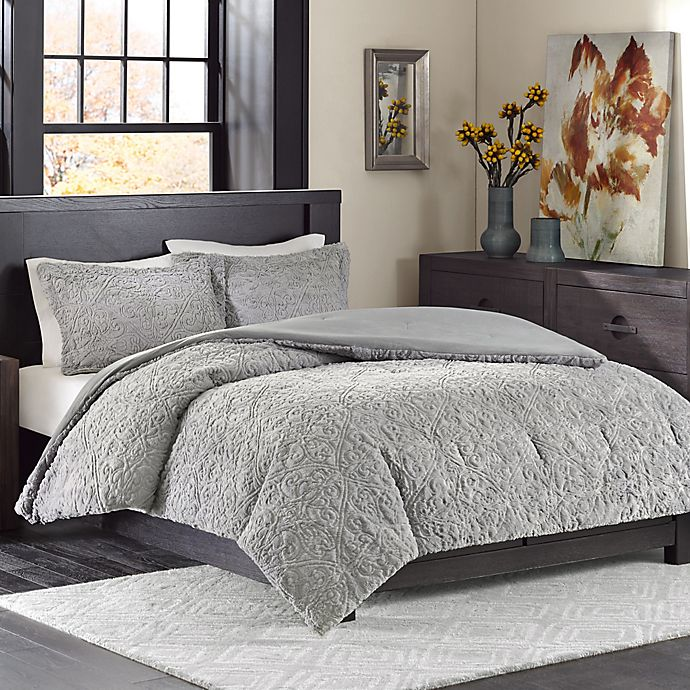 Alternate image 1 for Madison Park Bismarck Ultra Plush Full/Queen Comforter Set in Grey