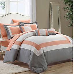 Chic Home Dylan 10-Piece Queen Comforter Set in Peach