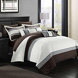 Chic Home Karsa 10-Piece Queen Comforter Set in Brown
