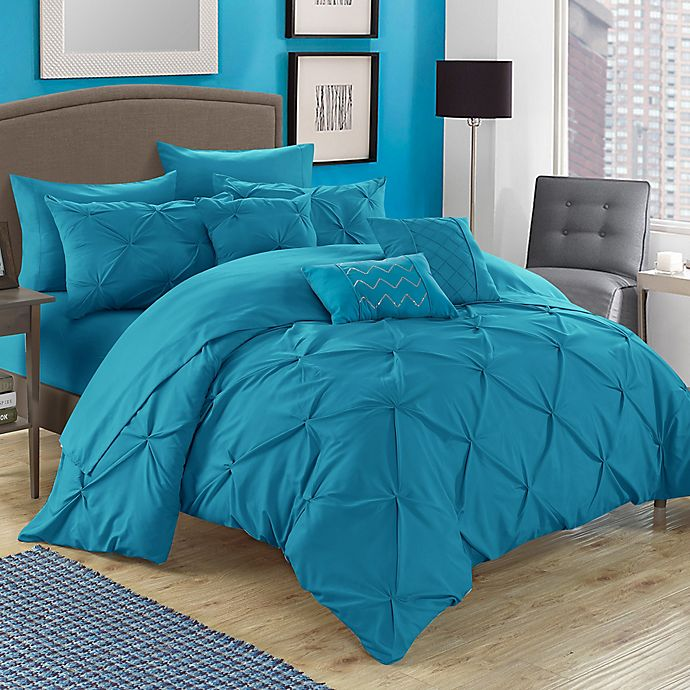 Alternate image 1 for Chic Home Salvatore 10-Piece Queen Comforter Set in Turquoise