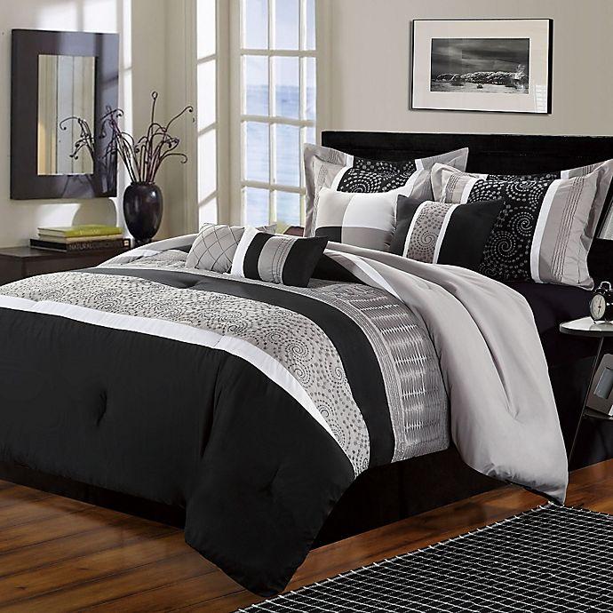 Alternate image 1 for Chic Home Elijah 8-Piece Queen Comforter Set in Black