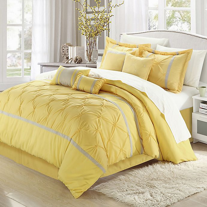Alternate image 1 for Chic Home Valde Rose 8-Piece King Comforter Set in Yellow/Grey