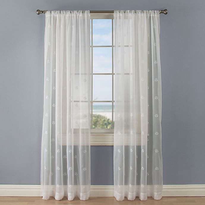 Alternate image 1 for Crossed Anchors 108-Inch Rod Pocket Sheer Window Curtain Panel in White