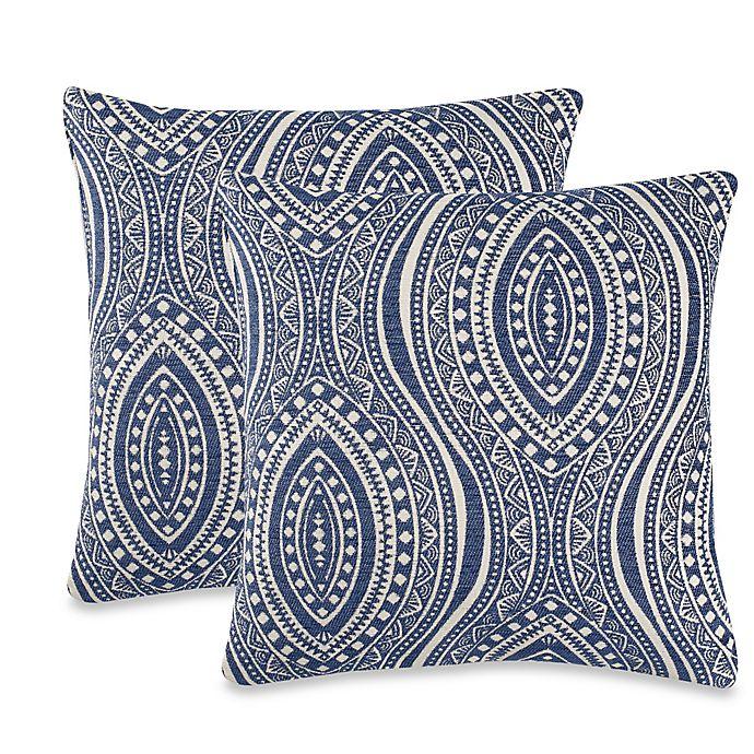 Alternate image 1 for Moroccan Tile Throw Pillow in Indigo (Set of 2)